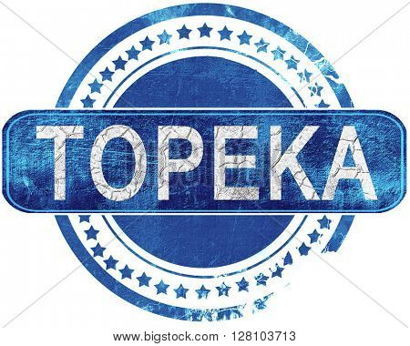 topeka grunge blue stamp. Isolated on white.