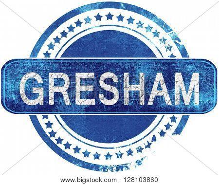 gresham grunge blue stamp. Isolated on white.