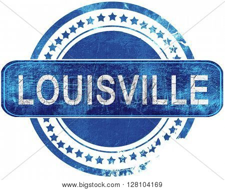 louisville grunge blue stamp. Isolated on white.