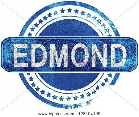 edmond grunge blue stamp. Isolated on white.