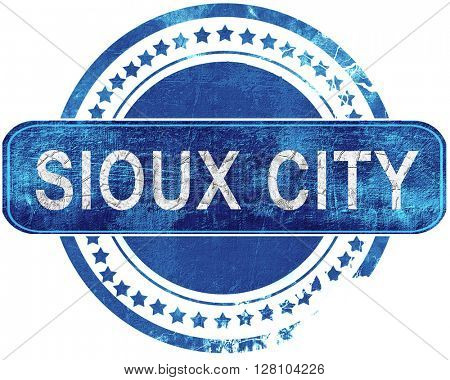 sioux city grunge blue stamp. Isolated on white.