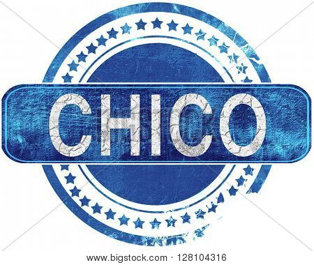 chico grunge blue stamp. Isolated on white.