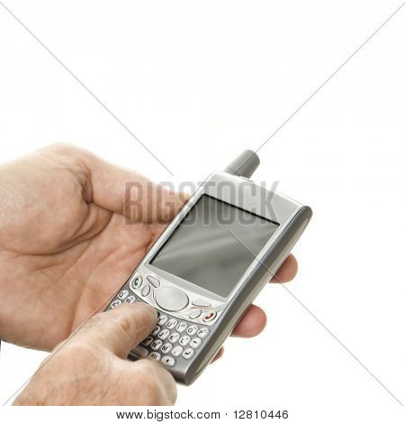Close-up of Caucasian middle-aged businessman using handheld PDA.