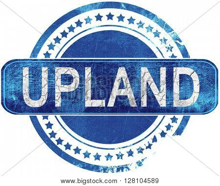 upland grunge blue stamp. Isolated on white.