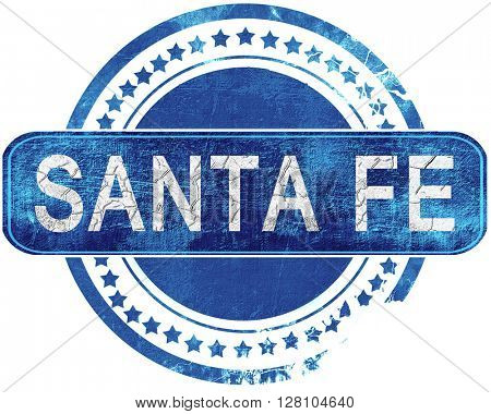 santa fe grunge blue stamp. Isolated on white.