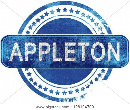 appleton grunge blue stamp. Isolated on white.