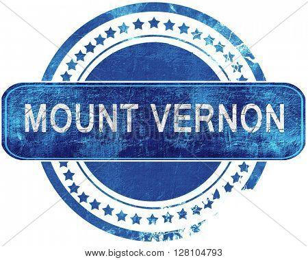 mount vernon grunge blue stamp. Isolated on white.
