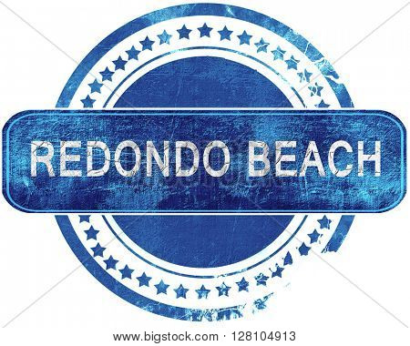 redondo beach grunge blue stamp. Isolated on white.