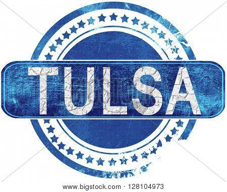 tulsa grunge blue stamp. Isolated on white.