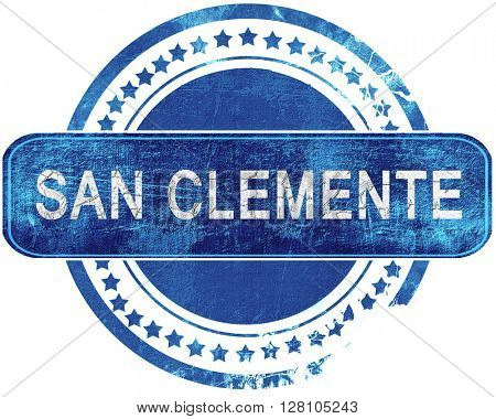 san clemente grunge blue stamp. Isolated on white.