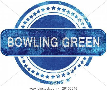 bowling green grunge blue stamp. Isolated on white.