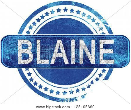 blaine grunge blue stamp. Isolated on white.