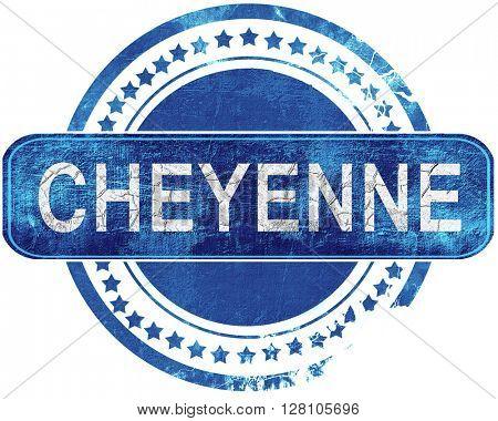 cheyenne grunge blue stamp. Isolated on white.