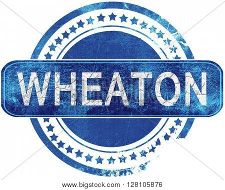 wheaton grunge blue stamp. Isolated on white.