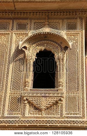 Highly delicate and intricate stone carving of Patawon-ki-Haweli at Jaisalmer Rajasthan India Asia