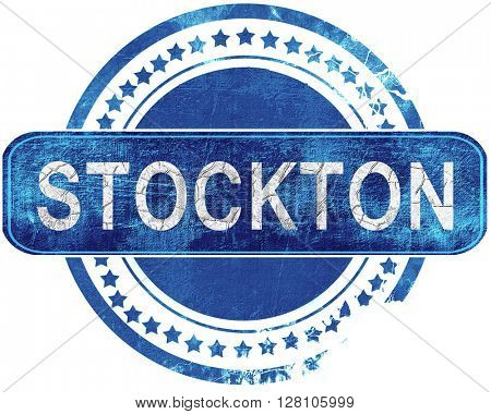 stockton grunge blue stamp. Isolated on white.