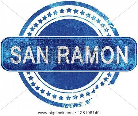 san ramon grunge blue stamp. Isolated on white.