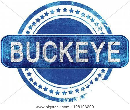buckeye grunge blue stamp. Isolated on white.