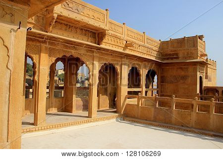 Stone gallery at the terrace of Patawon-ki-Haweli at Jaisalmer Rajasthan India Asia