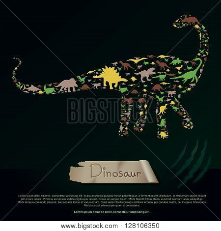 Flat dinosaur and prehistoric reptile animal infographic banner background template layout in Diplodocus or Apatosaurus icon shape for education or advertisement create by vector