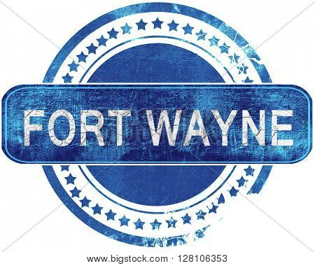 fort wayne grunge blue stamp. Isolated on white.