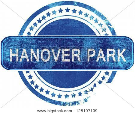 hanover park grunge blue stamp. Isolated on white.