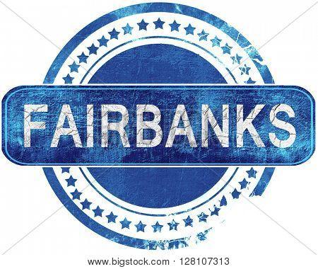 fairbanks grunge blue stamp. Isolated on white.