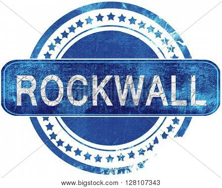 rockwall grunge blue stamp. Isolated on white.