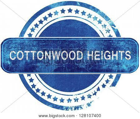 cottonwood heights grunge blue stamp. Isolated on white.
