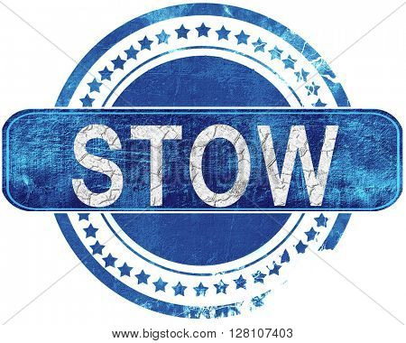stow grunge blue stamp. Isolated on white.