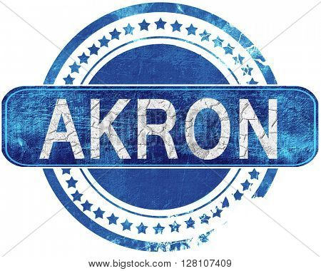akron grunge blue stamp. Isolated on white.