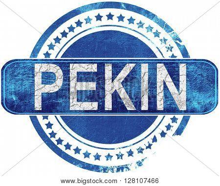 pekin grunge blue stamp. Isolated on white.
