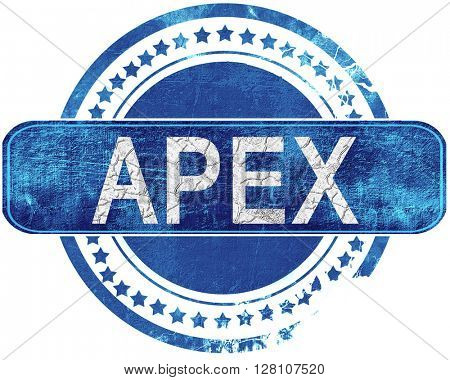 apex grunge blue stamp. Isolated on white.