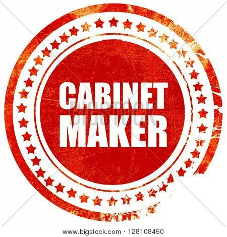 cabinet maker, red grunge stamp on solid background