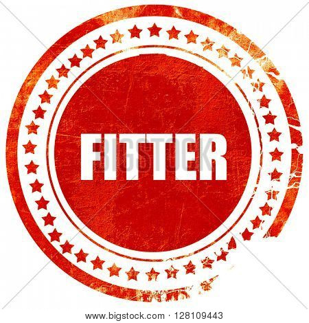 fitter, red grunge stamp on solid background