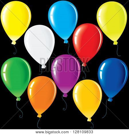 Isolated Colorful Party Balloons. Vector Colorful Clip Art for Your Festive Design