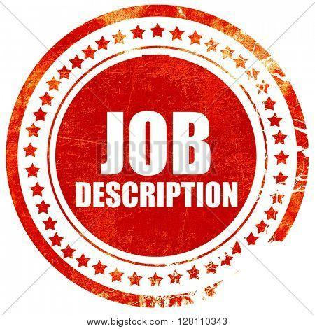 job description, red grunge stamp on solid background
