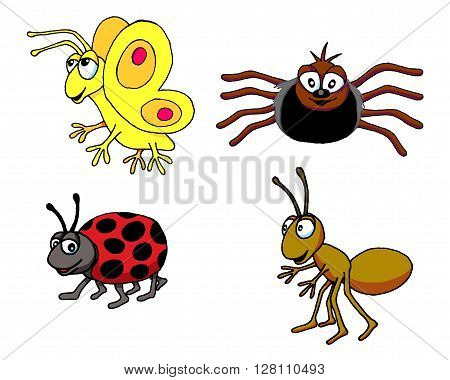 Vector illustration of a group of insects.