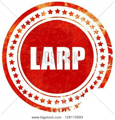 larp, red grunge stamp on solid background