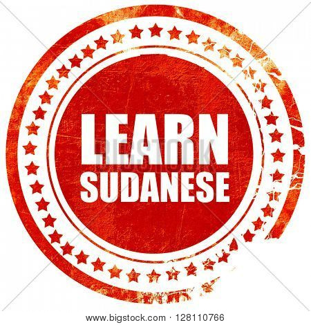 learn sudanese, red grunge stamp on solid background