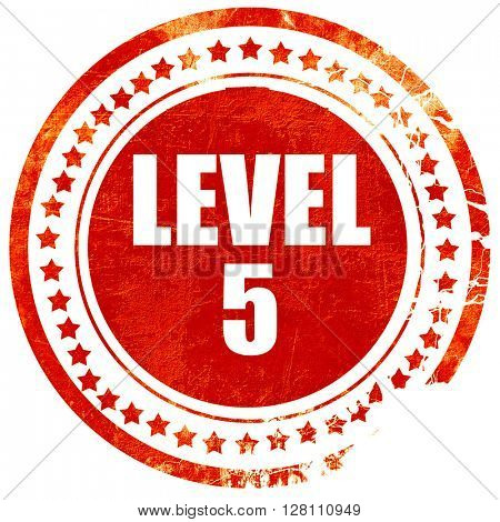 level 5, red grunge stamp on solid background