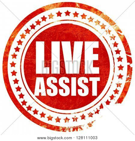 live assist, red grunge stamp on solid background