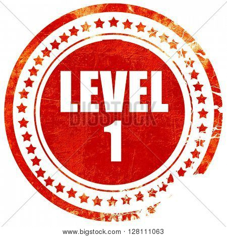 level 1, red grunge stamp on solid background