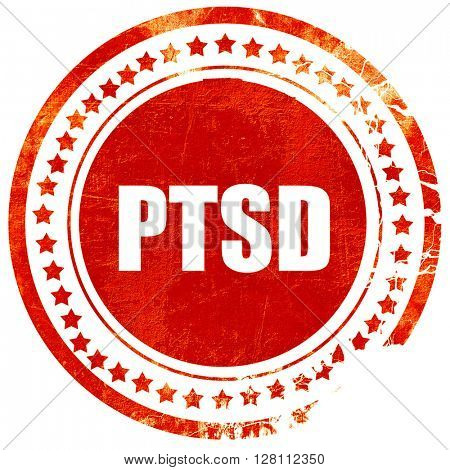 ptsd, red grunge stamp on solid background
