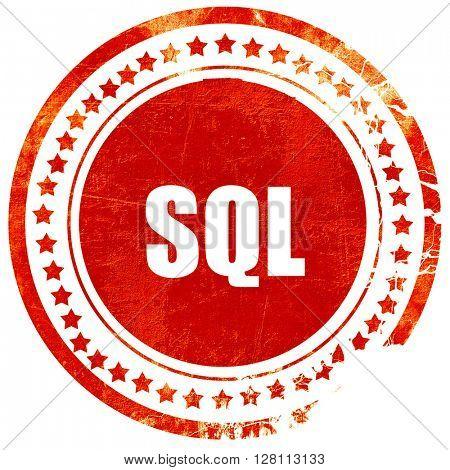 sql, red grunge stamp on solid background