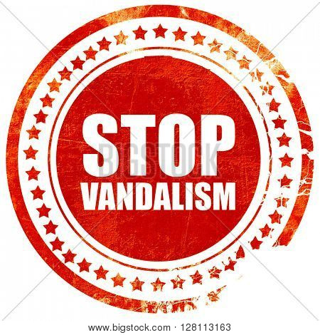 stop vandalism, red grunge stamp on solid background