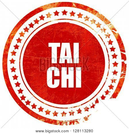 Tai chi, red grunge stamp on solid background