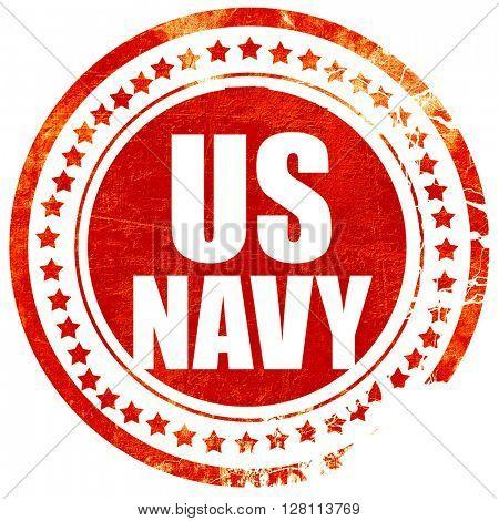 us navy, red grunge stamp on solid background