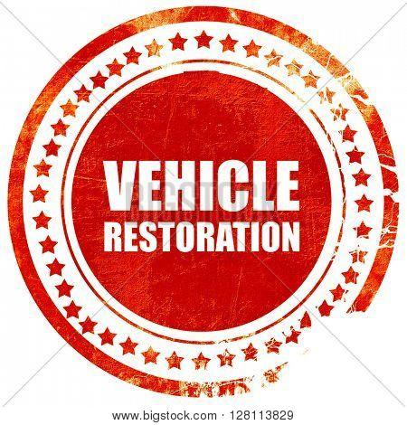 vehicle restoration, red grunge stamp on solid background