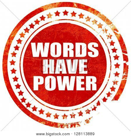 words have power, red grunge stamp on solid background